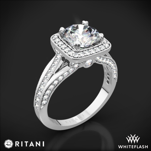 Ritani 1RZ3154 Masterwork Cushion Halo Vaulted Milgrain Diamond Engagement Ring