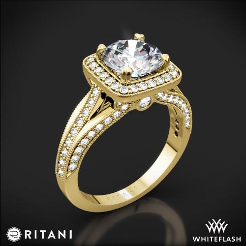 Ritani 1RZ3154 Masterwork Cushion Halo Vaulted Milgrain Diamond Engagement Ring