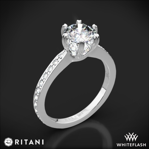 Ritani 1RZ3268 6 Prong Micropavé Diamond Engagement Ring