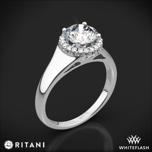 Ritani 1RZ3728 French-Set Halo Tapered Band Solitaire Engagement Ring