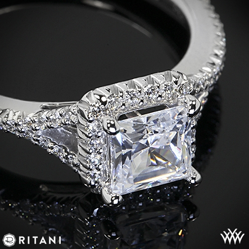 Ritani Bella Vita Split Halo Diamond Engagement Ring for Princess Ring Zoomed View