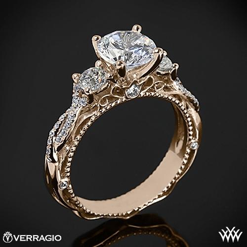 Verragio Beaded Twist 3 Stone Engagement Ring 2001