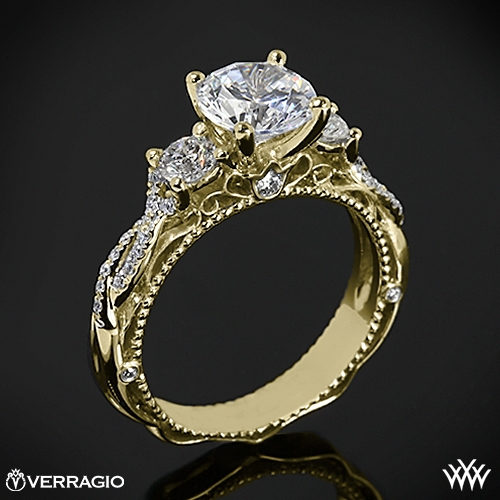 Verragio Beaded Twist 3 Stone Engagement Ring