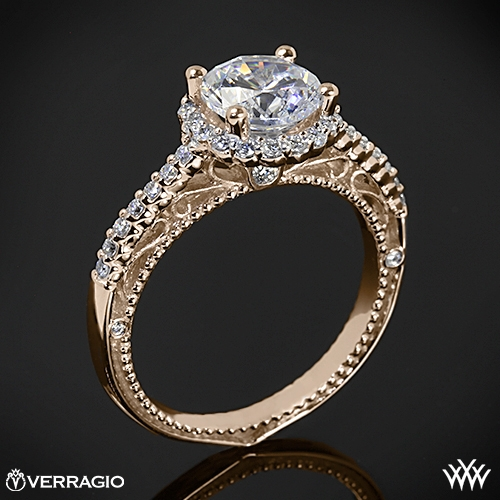 Verragio AFN-5022R-1 Beaded Shared-Prong Halo Diamond Engagement Ring