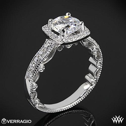 Verragio PAR-3077CU Beaded Cushion 4 Prong Halo Diamond Engagement Ring