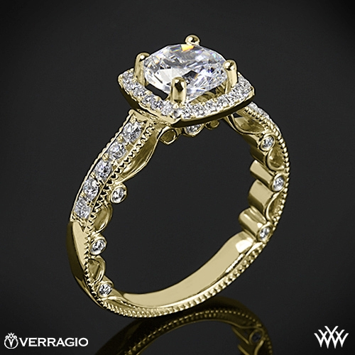 Verragio PAR-3077CU Beaded Cushion 4 Prong Halo Diamond Engagement Ring