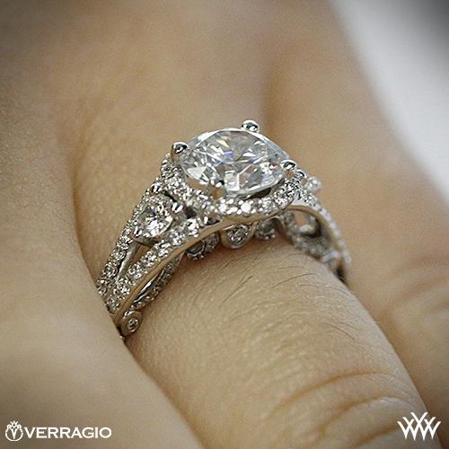 82aaedb1cccc0 Platinum Verragio INS-7068R Domed Bead-Set Diamond Engagement Ring