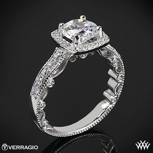 Verragio Beaded Cushion 4 Prong Halo Diamond Engagement Ring 2019