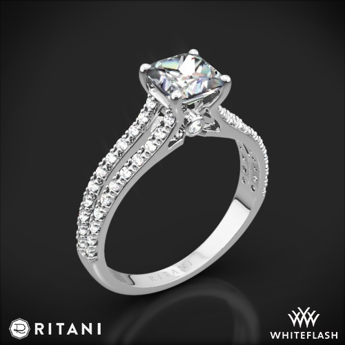 Ritani 1PCZ2488 Double French-Set V Diamond Engagement Ring for Princess