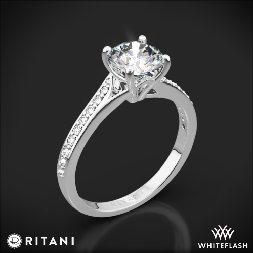 Ritani 1RZ2490 Modern Bypass Micropavé Diamond Engagement Ring