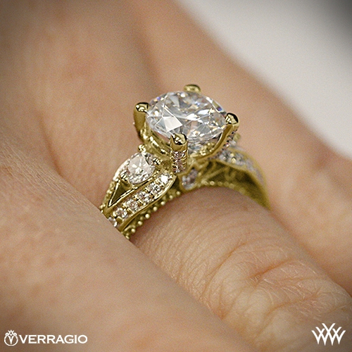 Verragio Bead-Set Knife Edge Yellow Gold Engagement Rings On Hand