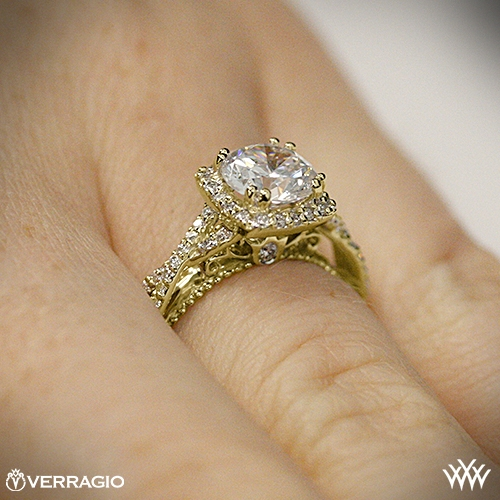Verragio Twisted Halo Diamond Yellow Gold Engagement Rings On Hand