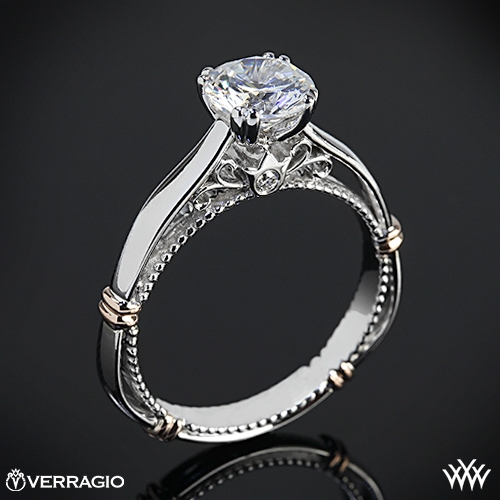 Verragio Split Claw 4 Prong with Rose Gold Shoulders Solitaire Engagement Ring