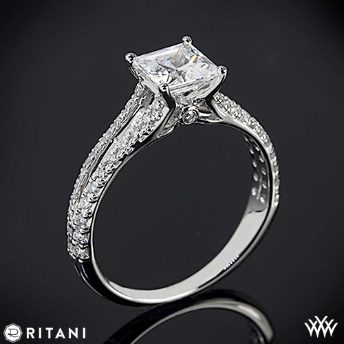 Ritani Classic Split Shank Diamond Engagement Ring for Princess Cut