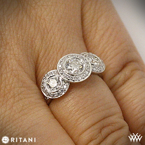 On Hand View Style Photo Ritani Endless Love 3 Stone Engagement Ring