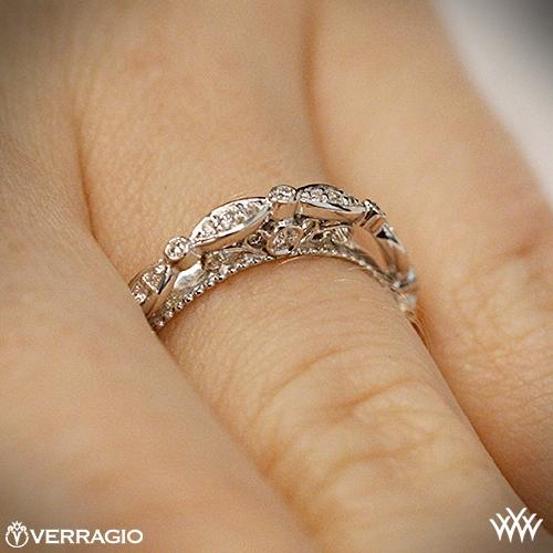Verragio Wedding Bands.14k White Gold Verragio Parisian D 100w Scalloped Diamond Wedding Ring