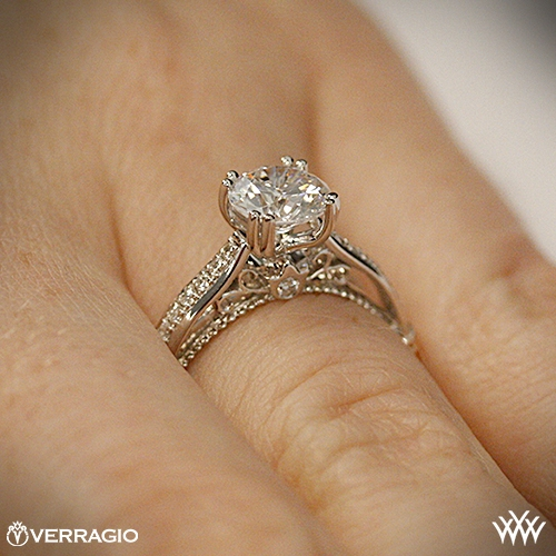 ring side view on hand view - Verragio Wedding Rings