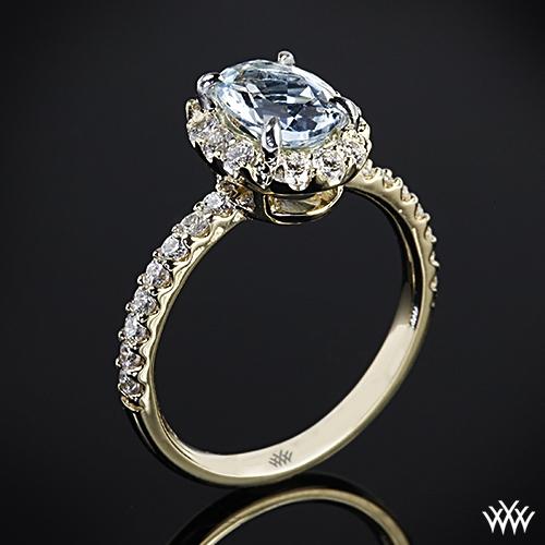 Oval Halo Aquamarine and Diamond Right Hand Ring