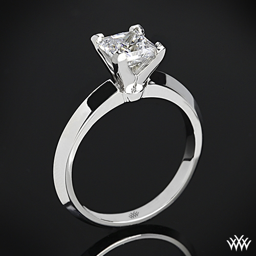 Classic Tiffany Style Knife Edge Solitaire Engagement Ring
