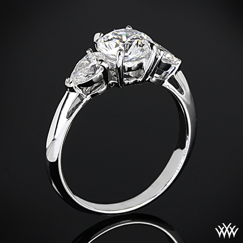 Vatche 310 Round and Pear 3 Stone Engagement Ring