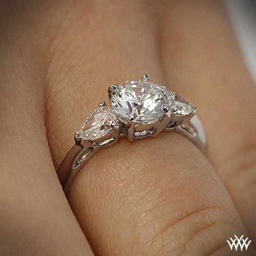 Round and pear 3 stone engagement ring 2356