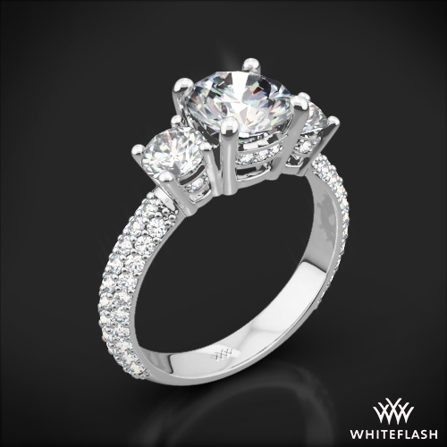 Rounded Pave Three Stone Engagement Ring