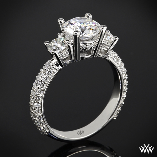 """Rounded Pave"" 3 Stone Engagement Ring"