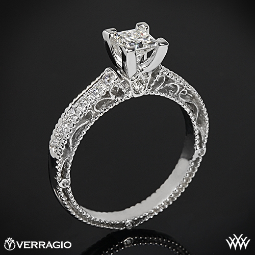 Verragio AFN-5001P-2 Scrolled Pave Diamond Engagement Ring for Princess