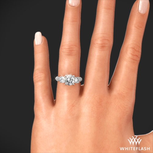 Rounded Pave 3 Stone Engagement Ring 2387