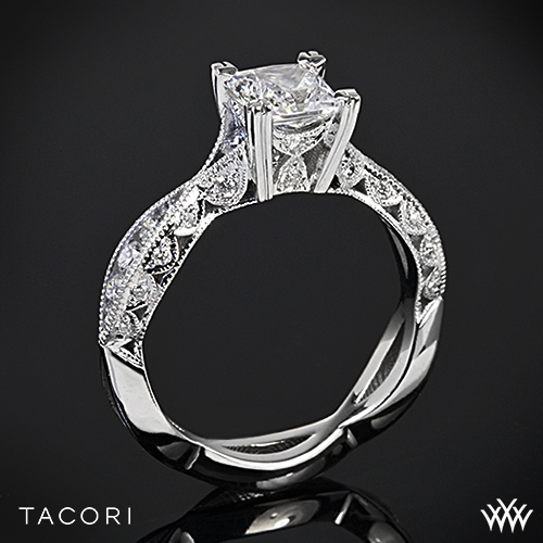 Tacori 2578PR Classic Crescent Twist Diamond Engagement Ring for Princess