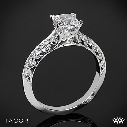Tacori 2616PR Classic Crescent Pave Diamond Engagement Ring for Princess