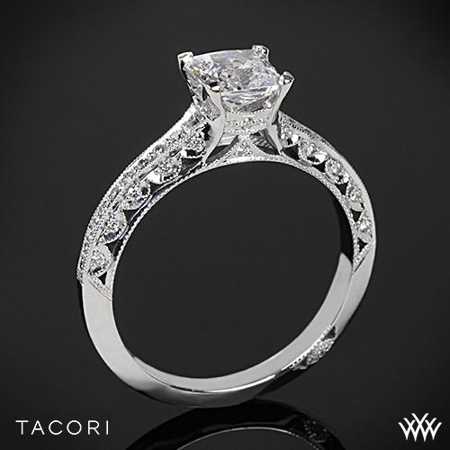 Tacori 2616PR Classic Crescent Pave Diamond Engagement Ring for Princess