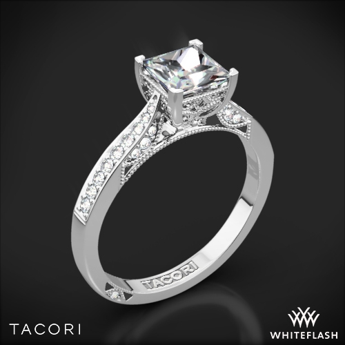 Tacori 2638PRP Dantela Crescent Motif Pave Diamond Engagement Ring for Princess
