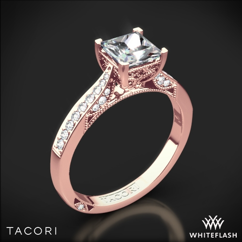 Tacori 2638PRP Dantela Crescent Motif Pave Diamond Engagement Ring for Princess