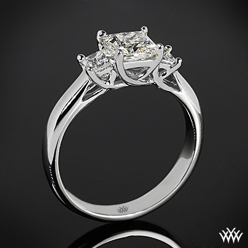 """Trellis"" 3 Stone Engagement Ring for Princess"