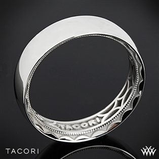 6mm 18k White Gold Tacori 111-6 Sculpted Crescent Rounded Eternity Wedding Ring