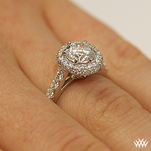 254b510b31e Rounded Pave Halo Diamond Engagement Ring