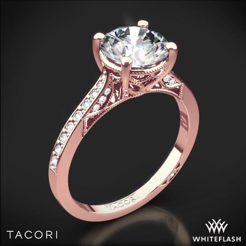 Tacori 2638RD P Dantela Crescent Motif Pave Diamond Engagement Ring