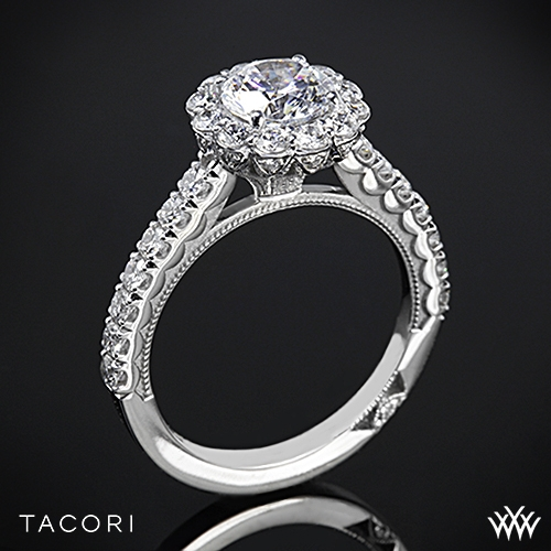 Tacori 37-2 RD Full Bloom Round Halo Diamond Engagement ...