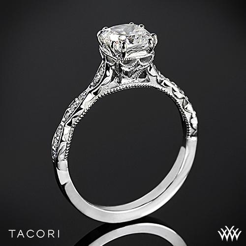 Tacori 57-2CU Sculpted Crescent Diamond Engagement Ring for Cushion