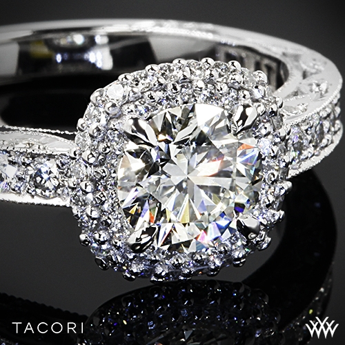 Tacori HT 2520 CU Blooming Beauties Double Cushion Halo Diamond Engagement Ri