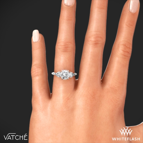 Round And Pear 3 Stone Engagement Ring 7