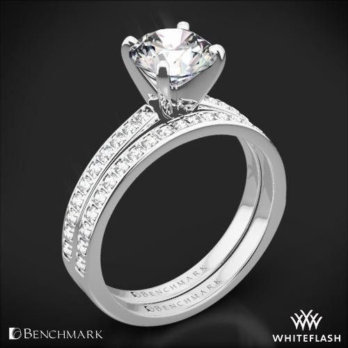 Benchmark LCPA1 Small Pave Diamond Wedding Set