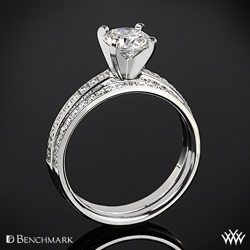 Benchmark Small Pave Diamond Wedding Set