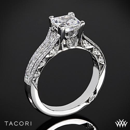 Tacori HT2513PR Classic Crescent Tapered Diamond Engagement Ring for Princess