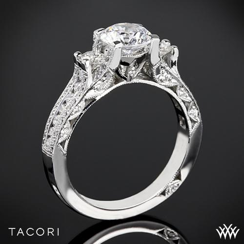 Tacori HT2514RD Classic Crescent Pave Three Stone Engagement Ring