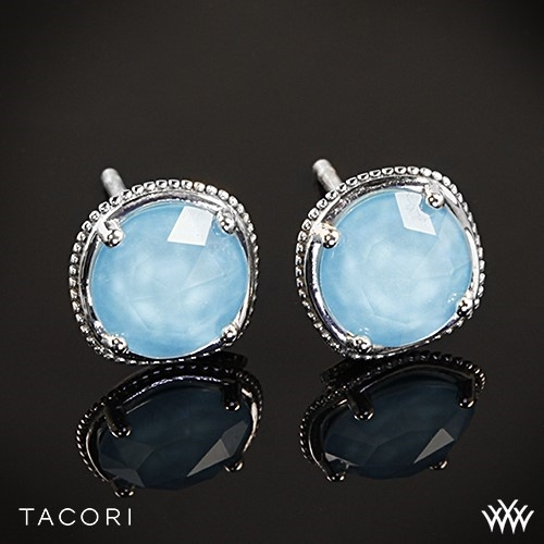 Tacori Island Rains Clear Quartz over Neolite Turquoise Stud Earrings