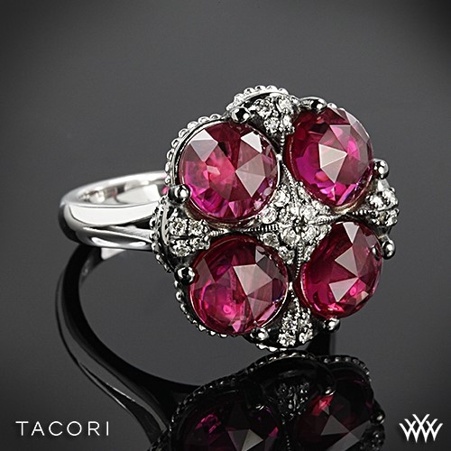Tacori SR15334 City Lights Clear Quartz over Ruby Red Quartz Quad Ring