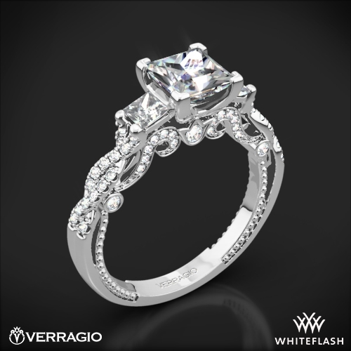 Verragio INS-7074P Beaded Braid Three Stone Engagement Ring for Princess