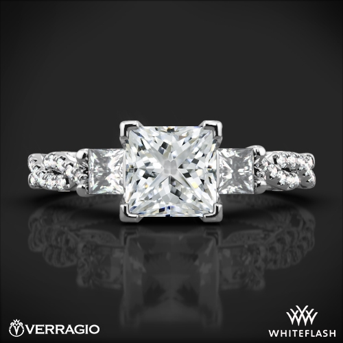 Verragio Ins 7074p Beaded Braid Princess 3 Stone